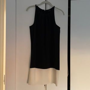 Black and Ivory Colorblock Silk Dress